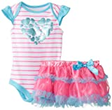 Baby Glam Baby-Girls Newborn 2 Piece Skirt Set with Flutter Sleeves and Ruffles, Multi, 6-9 Months