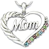 Mom Heart Necklace Multicolor Love Pendant Charm for Mother's Day Gift Jewelry