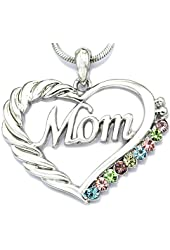 SoulBreezeCollection Mom Heart Necklace Love Pendant Charm for Mother's Day Gift Jewelry