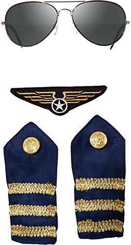 Pilot Piloten Flieger Set 4 teilig Brille Schulterklappen und Patch