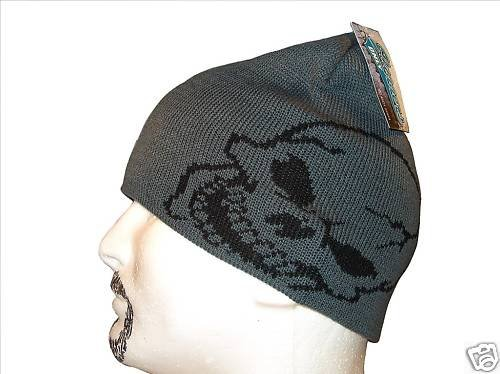 GREY & BLACK GIANT SKULL BEANIE CAP CAPS HAT HATS