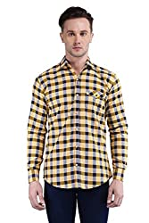 BRAVEZI Men's Yellow Checkered Casual Slim Fit Shirt
