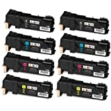 Speedy Inks - Compatible Xerox Set of 8 Toner Cartridges for Phaser 6500, WorkCentre 6505 Printers: 2 Black, 2 Cyan, 2 Magenta, 2 Yellow