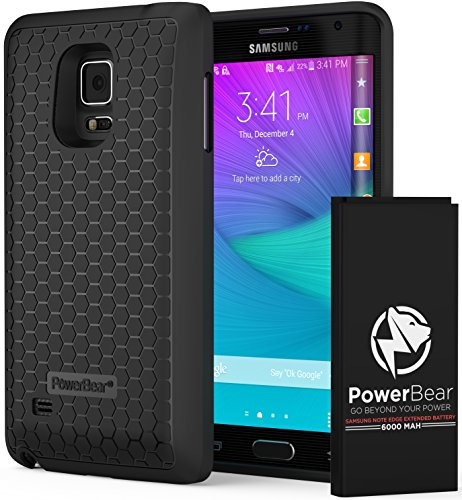 PowerBear Samsung Galaxy Note Edge Extended Battery [6000mAh] & Back Cover & Protective Case (Up to 2.5X Extra Battery Power) - Black [24 Month Warranty & Screen Protector Included] (Galaxy Note Edge Cell Phone Case compare prices)