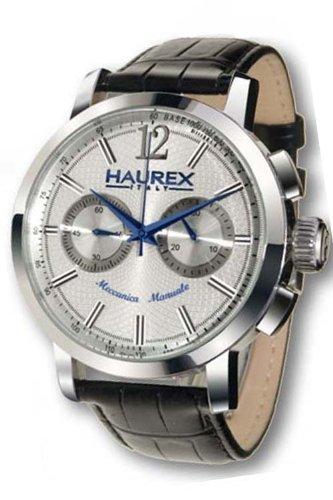 Haurex Italy Maestro Silver Dial Watch #CA330USS - Reloj de caballero automático, correa de piel color negro