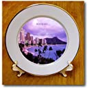 3dRose cp_62011_1 City of Waikiki Hawaii Porcelain Plate, 8-Inch