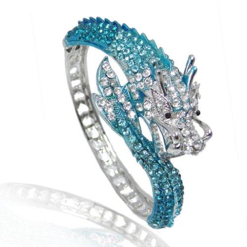 Ever Faith Silver Tone Fly Dragon Bracelet Blue Austrian Crystal