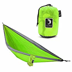 Single Person Adventure Hammock made of Rip-stop Nylon by Tribe Provisions - Includes carabiners and lashing cables Lime Green