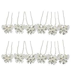 Phenovo 12PCS Wedding Crystal Rhinestones Hollow Butterfly Flower Hair Pins Clip