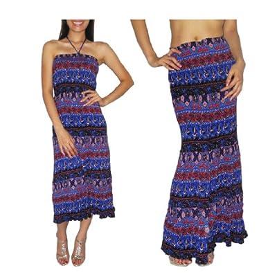 Frauen Thai Boho Fließende Gesammelt / Smocked Mieder Knittern Halter Sommer Kleid / Schoß - Größe: one Größe