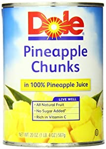 Dole Pineapple Chunks in Juice, 20 Ounce Cans (Pack of 12)