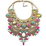 NABROJ Large Statement Necklace Gold Rhinestones Choker Bib Necklace with Multicolor Crystals Drag Queen Jewelry for Women-HL23 Multicolor (Color: Multicolor)