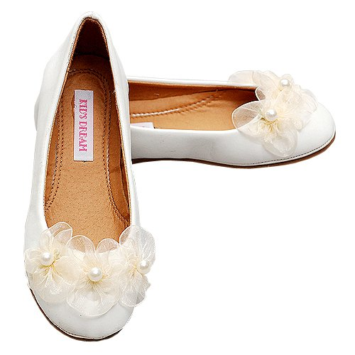 Ivory Flower Pearl Leather Ballet Flat Shoes Infant