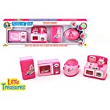 Children Pretend Play Mini Gourmet Kitchen Pink Appliance With Toy Microwave Toy Fridge Toy Cooker & Toy Oven ,Set 4 Pcs