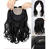 Yudit Long Curly Wavy Remy Human Hair Topper Clip in Silk Base Crown Hair Piece Natrual Part with Realistic Scalp For Thining Hair For Women Natrual black Yudit (Color: Natrual black, Tamaño: Natrual Part)
