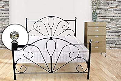 Duratribe Flora Metal Bed Frame in Black Colour with Crystal Finals - Double Size (4.6 FT) - Improved Quality