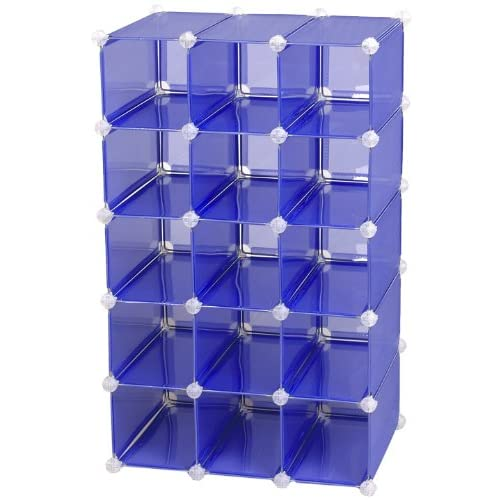 15 Pair Customizable Shoe Cubby, Blue - Free Standing Shoe Racks