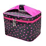ganizer Pouch Women Toiletry Portable Cosmetic Case Storage Foldable Container Makeup Bag Holder (Black+Rose)