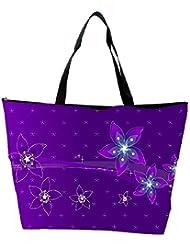 Snoogg Purple Flower Designer Waterproof Bag Made Of High Strength Nylon - B01I1KKKG4
