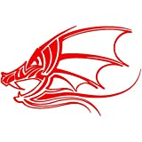 Tribal Dragon Head Decal Sticker (red, 5 inch) by Stickerslug