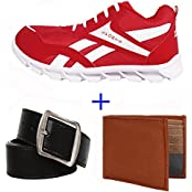 Earton COMBO Pack Of 3 Men/Boy Sports Shoes With Belt & Wallet