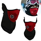 massmall Neoprene Winter Snowboard Ski Half Face Mask Soft Cotton Fleece Neck Ear Warmer Protection Vented Fitted Velcro Adjustable Close Biker Motorcycle Facemask (Red) (Color: Red)