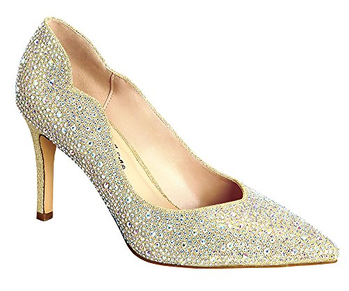 Josie-2 Chic Sparkle Rhinestone Mid Heel Prom Wedding Dress Pumps Nude 7