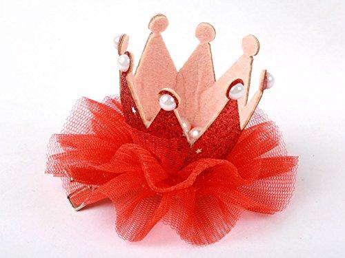 子供 クイーン冠型 真珠 ヘアピン ヘアピン コスプレ 文化祭 赤色