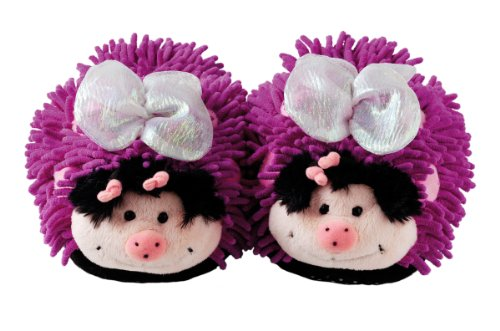 Aroma Home Fuzzy Friends Purple Butterfly Slippers