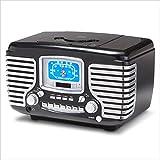 Crosley CR612-BK Corsair Retro AM/FM Radio with CD Player and Dual Alarm Clock (Black)