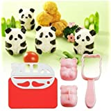Bento Rice Ball Mold Baby Panda Onigiri Shaper and Dry Roasted Seaweed Cutter Set (Color: Pink)