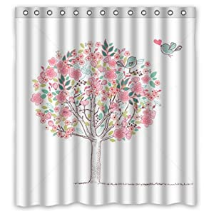 Colorful Tree Leaves Lovely Cute Bird For Kids Shower Curtain 66 X72