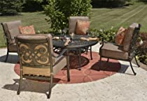 Hot Sale The Herve Collection 4-Person All Welded Cast Aluminum Patio Furniture Deep Seating Conversation Set With Drink Table