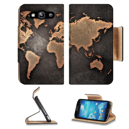 Grunge World Map Bronze Design Samsung Galaxy S3 I9300 Flip Cover Case With Card Holder Customized Made To Order Support Ready Premium Deluxe Pu Leather 5 Inch (132Mm) X 2 11/16 Inch (68Mm) X 9/16 Inch (14Mm) Luxlady S Iii S 3 Professional Cases Accessori front-612716