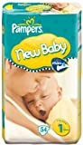 Pampers New Baby Size 1 (4-11 lbs/2-5 kg) Nappies - 2 x Economy Packs of 54 (108 Nappies)