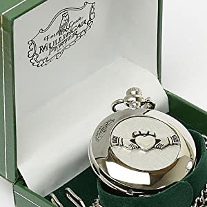 Irish Crafted Mullingar Pewter Celtic Claddagh Pocket Watch - 2 inches in diameter