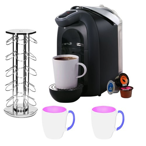 Coffee Bean Tea Leaf 10134 Americano Single Serve Brewer Coffee Maker + Hexo Capsule Holder + 2 Stoneware Coffee Mugs