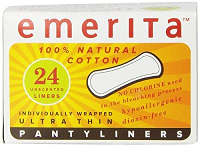 Emerita Feminine Hygiene Pantyliners 100% Natural Cotton Ultra Thin (24 Count)