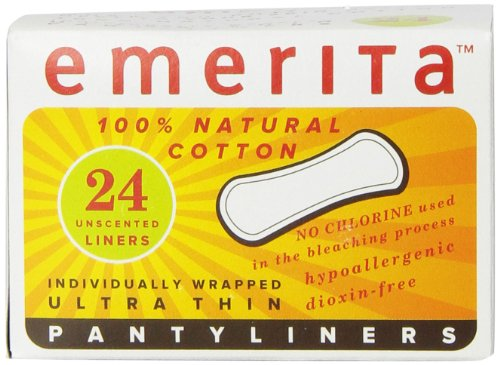 Emerita Natural Cotton Ultra Thin Pantiliners, Individually Wrapped, 24 Count
