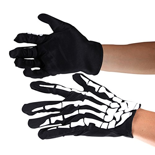 HITREE 5 Pair Adult Halloween Fancy Dress 3D Skeleton Bones Gloves (Fancy Dress Boxing Gloves)