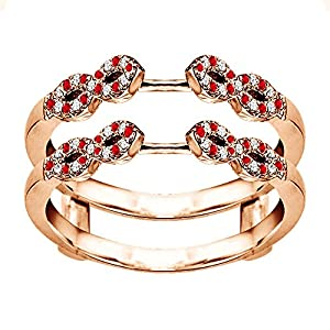 0.38CT Diamond and Ruby Infinity Ring Guard Enhancer set in Rose Gold Plated (0.38CT TWT G-H I1-I2 Diamonds and Ruby)