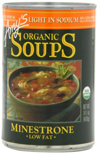 Amy's Light in Sodium Organic Soups,  Low Fat Minestrone, 14.1 Ounce (Pack of 12) (Amy Organic Chili compare prices)