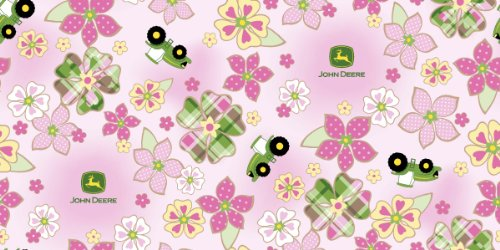 John Deere Fleece Plaid Floral Toss Fabric By The Yard, 59/60-Inch Wide, Pink front-28464