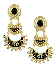 The Art Jewellery Rajwadi Black Enamelled Work Double Layered Dangle&Drop Earrings For Women