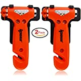 IPOW Car Safety Antiskid Hammer Seatbelt Cutter Emergency Class/Window Punch Breaker Auto Rescue Disaster Escape Life-Saving Hammer Tool,2 Pack (Small)