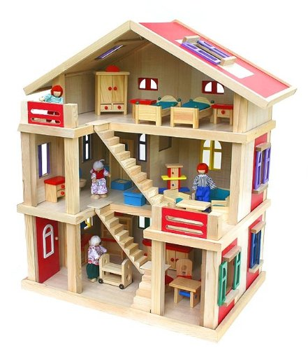 Puppenhaus Holz Ohne ZubehOr ~ Pin Holz Puppenhaus Mit Möbel Puppen Zubehör on Pinterest