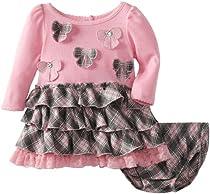 Nannette Baby-Girls Newborn 2 Piece Bow Printed Dress Set, Pink, 3-6 Months