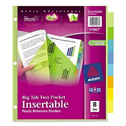 Avery : Worksaver Big Tab Plastic Dividers, Two Slash Pockets, Eight-Tab, Assorted -:- Sold as 2 Packs of - 8 - / - Total of 16 Each