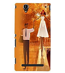 Printvisa Bride And Groom In Orange Background Back Case Cover for Sony Xperia T2 Ultra::Sony Xperia T2 Ultra Dual