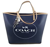 Coach Horse & Carriage Large Leather Tote Navy Blue F31315